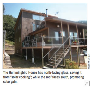"The Hummingbird House has north-facing glass, saving it from ""solar cooking�; while the roof faces south, promoting solar gain."