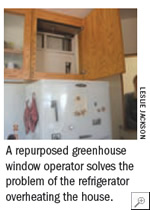 A repurposed greenhouse window operator solves the problem of the refrigerator overheating the house.