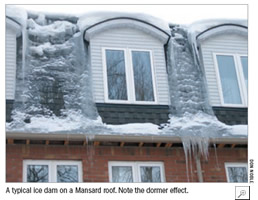 A typical ice dam on a Masard roof.